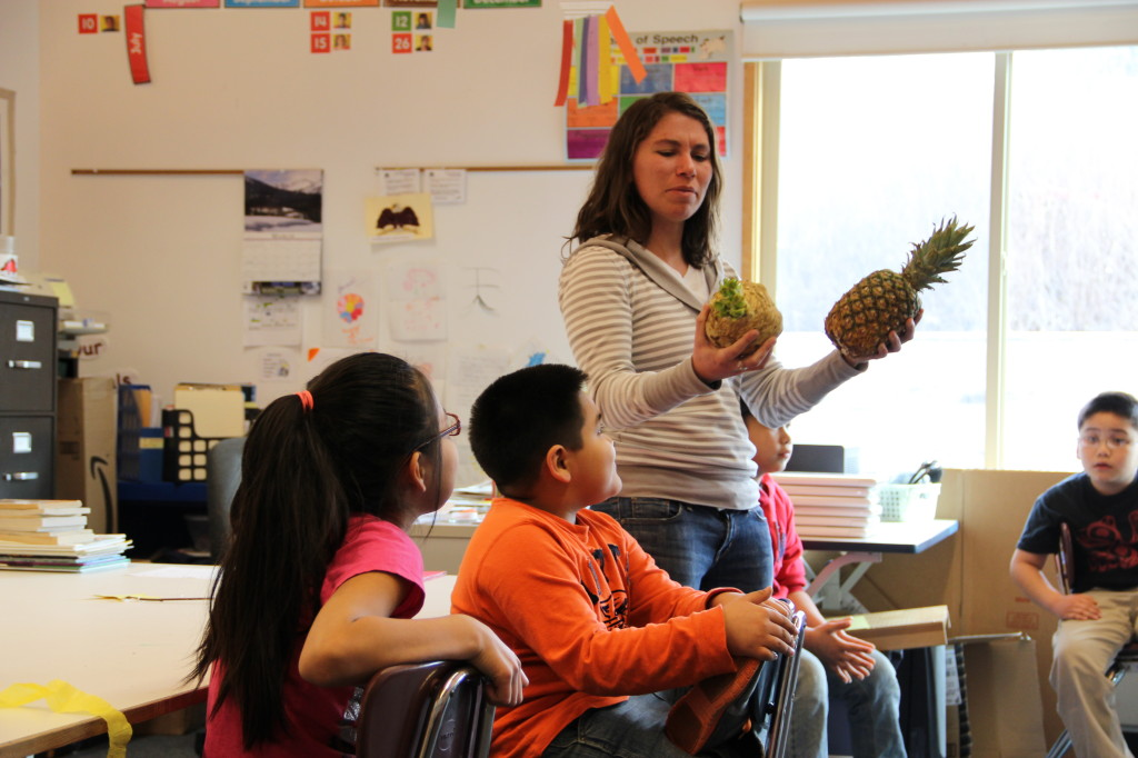Meredith Pochardt teaches about local foods with Angoon students