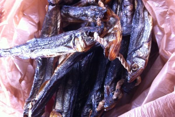 Smoked eulachon ready to eat